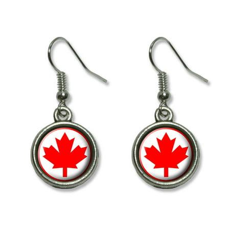 - Canada Maple Leaf Flag Dangling Drop Earrings