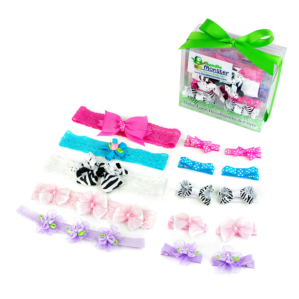 Bundle Monster 15in1 Baby Girl Lace Headbands Grosgrain Ribbon Bow Clips Combo