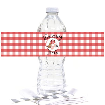 Barnyard Birthday (Red Farmhouse Barnyard Birthday, Water Bottle Labels,)