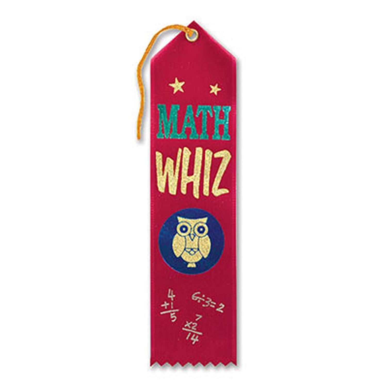 "Pack of 6 Red ""Math Whiz"" School Award Ribbon Bookmarks 8"""