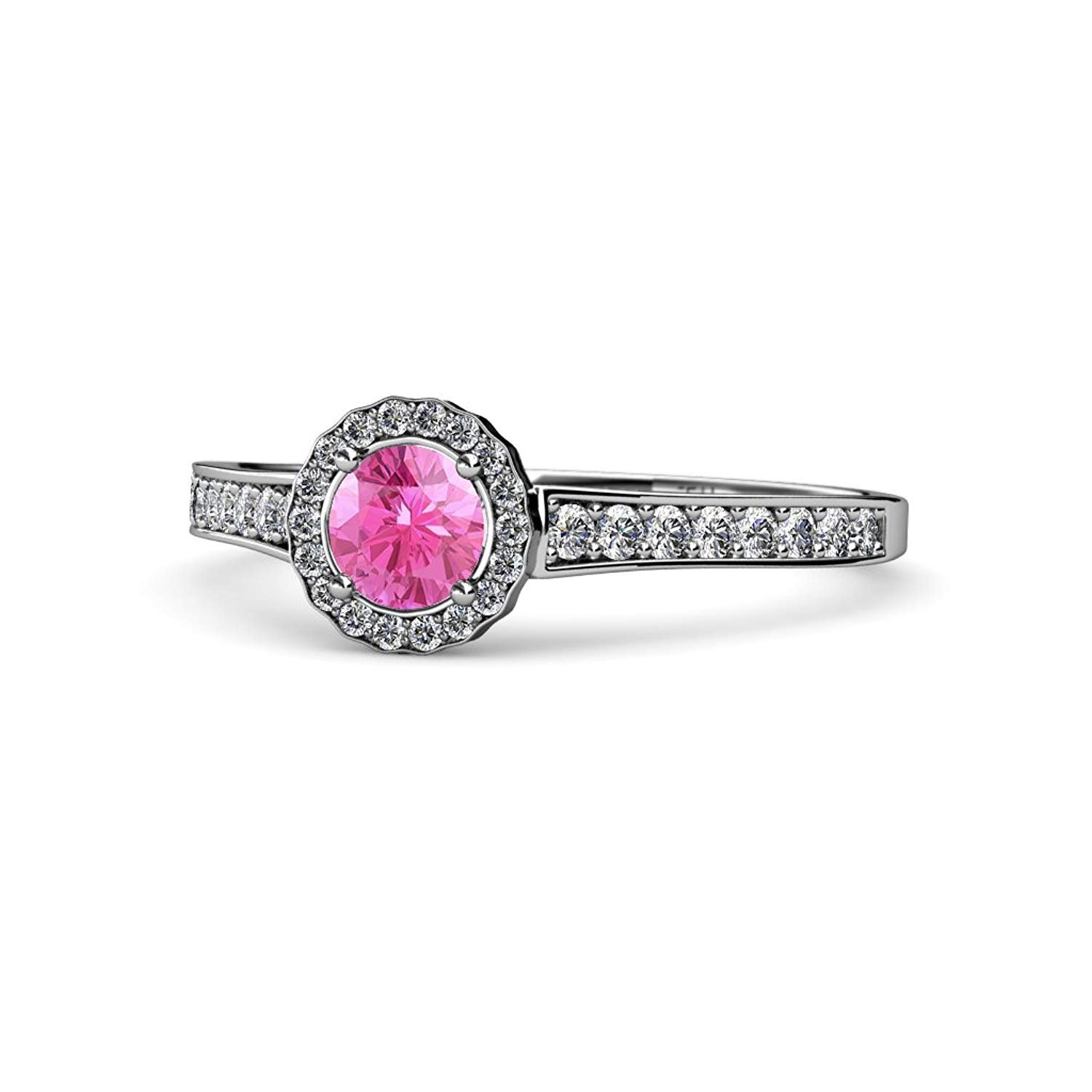 Pink Sapphire and Diamond (SI2-I1, G-H) Halo Engagement Ring 0.99 ct tw in 14K White Gold.size 7.0 by TriJewels