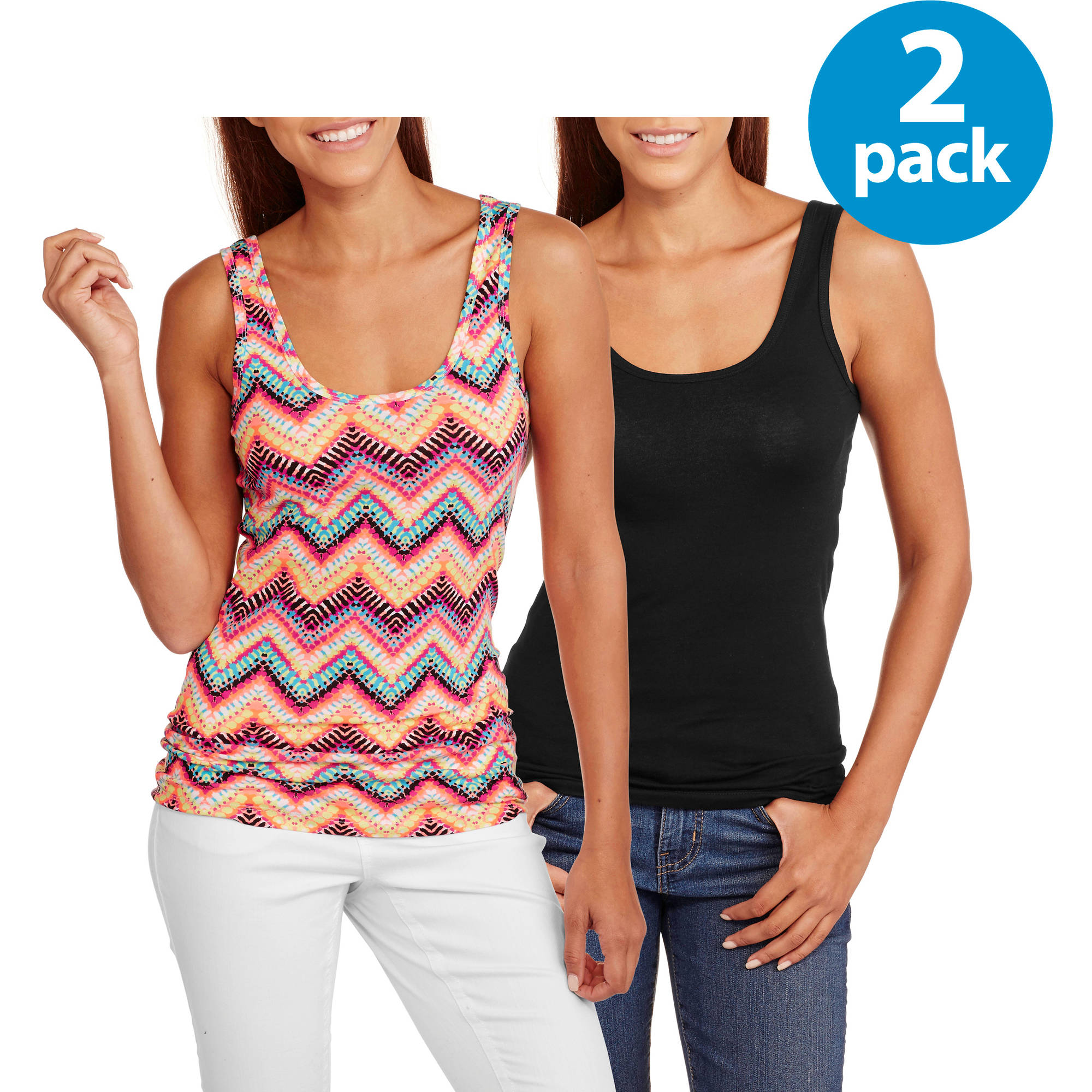 No Boundaries Juniors' Graphic Scoop Neck Tank 2 Pack