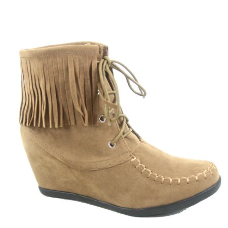 - Glady-84 Women's Fashion Fringe Lace UP Low Wedge Sneaker Booties Shoes