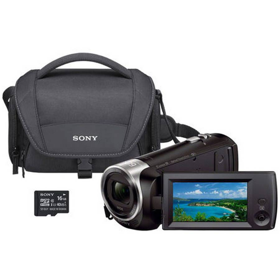 Refurbished Sony HDR - CX440 8GB Wi - Fi 60p HD Camcorder Bundle with Carrying Case 16GB SD Card