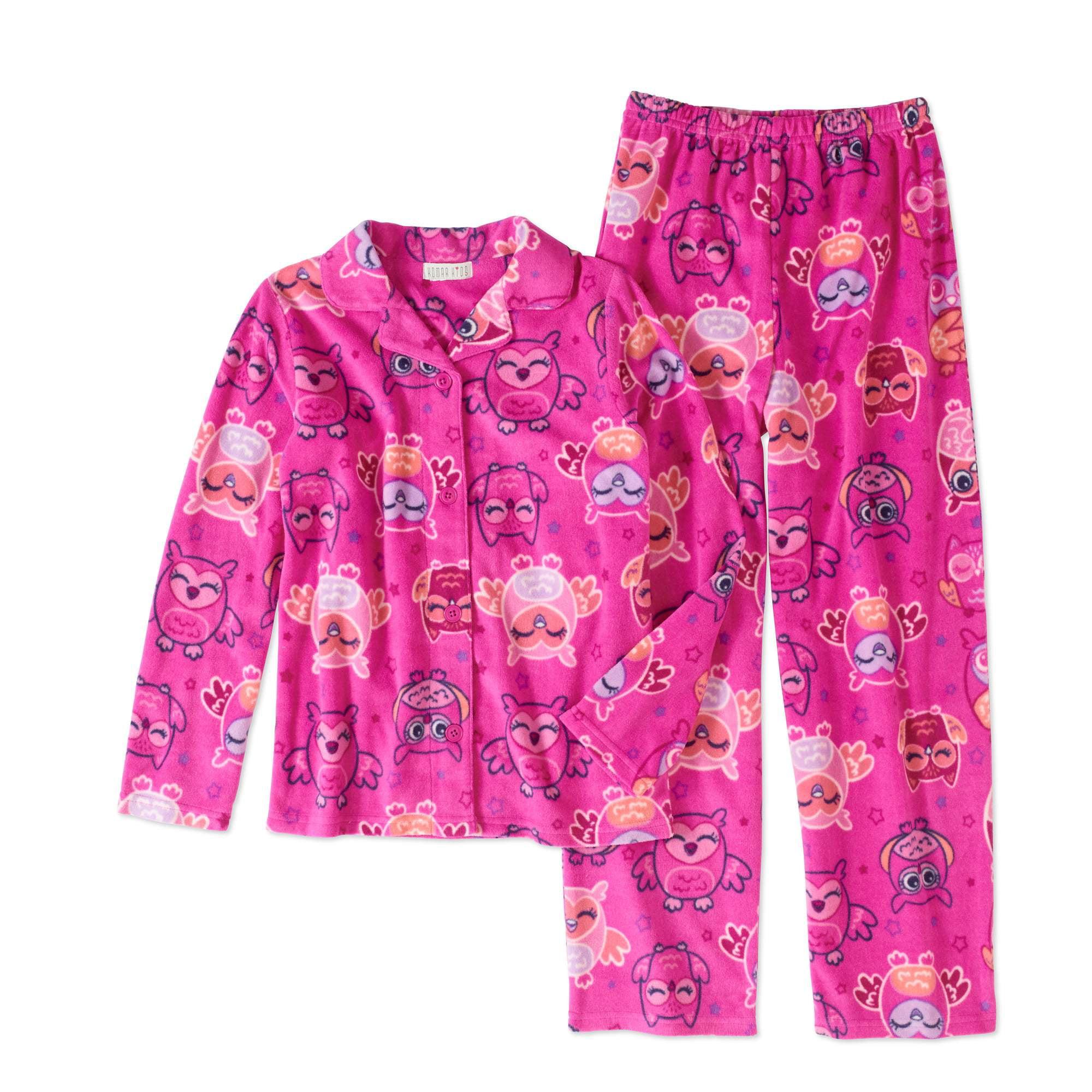 Komar Kids Girls' Owl Fleece 2pc Button Front Pajama
