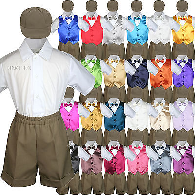 5pc Baby Toddler Boy Satin Red Vest Bow Tie Shorts Set White Suit S-4T 4T