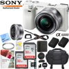 Sony Alpha a6000 Mirrorless Digital Camera 24.3MP SLR (White) w/ 16-50mm Lens ILCE-6000L/W with Extra Battery Case 2x 32GB Memory Deluxe Pro Bundle E55SNILCE6000LW CAMERA INCLUDES:Sony Alpha A6000 Mirrorless Digital Camera (White)Sony 16-50mm f/3.5-5.6 OSS Lens (Silver)NP-FW50 Lithium-Ion Rechargeable Battery (1020mAh)Eye PieceAC Adapter AC-UB10Micro USB CableNeck StrapLimited 1-Year WarrantyBUNDLE INCLUDES:SanDisk Ultra SDHC 16GB UHS Class 10 Memory Card, Up to 80MB/s Read SpeedMemory Card Reader, Card Wallet, Mini Tripod, Cleaning Kit and More40.5mm Clear Glass UV FilterLarge Gadget Bag for SLR Digital CamerasNP-FW50 Replacement Camera BatteryCorel Paint Shop Pro X9 (Digital Download Card)