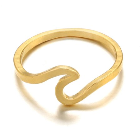 Sterling Silver Ocean Sea Island Beach Wave Wrap Womens Wedding Engagement Ring (Gold 7)