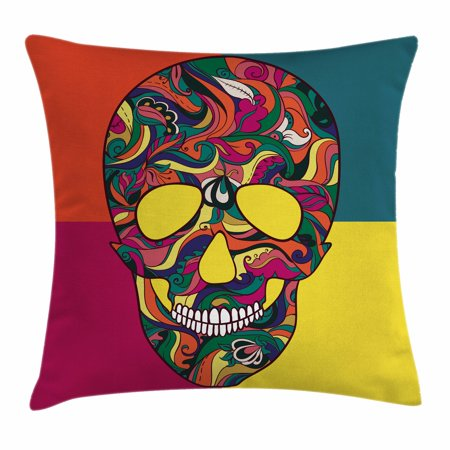 Sugar Skull Decor Throw Pillow Cushion Cover, Colorful Calavera Themed Artwork Catrina Day of the Dead Mexican Culture, Decorative Square Accent Pillow Case, 18 X 18 Inches, Multicolor, by Ambesonne - La Catrina Sugar Skull