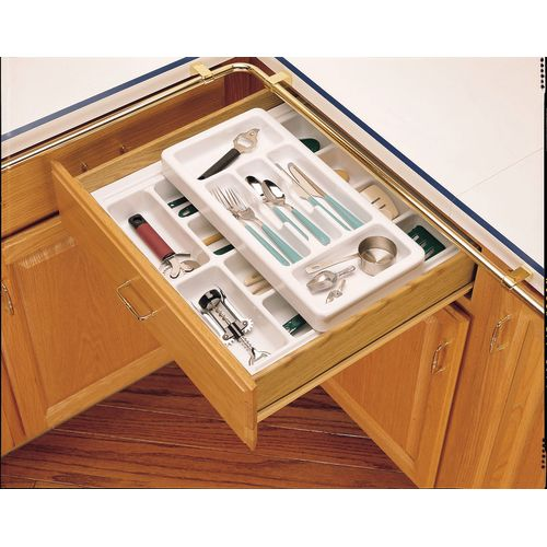 Rev-A-Shelf RT 18-3H Rolling Tray Series Shallow Cutlery Tray with Rolling Top Half Tray