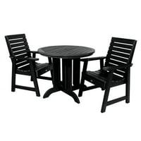 highwood® Eco-Friendly Recycled Plastic Weatherly 3pc Round Dining Set