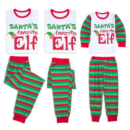 038a7028eb Family Matching Christmas Pajamas Set Xmas Santa Elf Print Tops Long  Striped Pants Sleepwear PJ Sets Mom Dad and Baby Outfits - Walmart.com