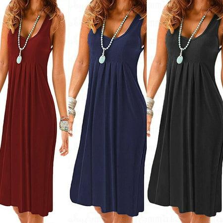 New Women Ruffle Evening Party Sundress Sleeveless Loose Long Holiday Dress