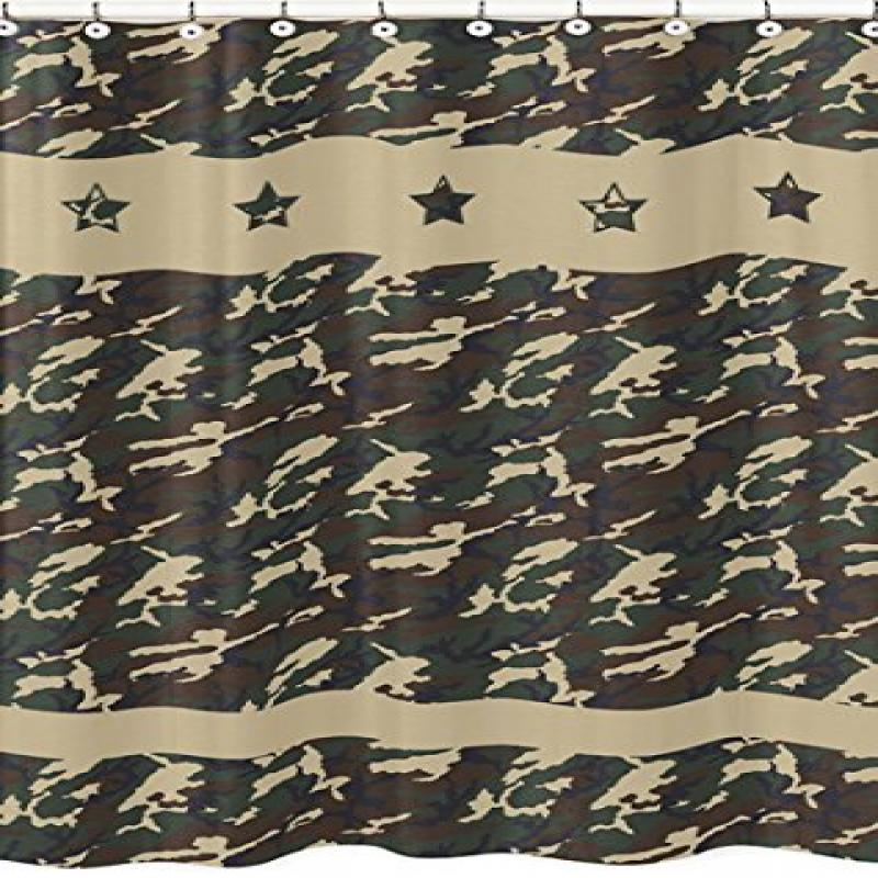 Green Camo Army Camouflage Kids Bathroom Fabric Bath Shower Curtain by Sweet Jojo Designs by