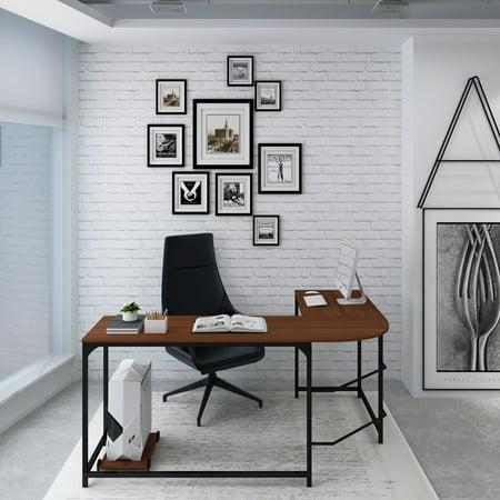 Barnard-L Simple L-Shaped Computer Desk, Walnut Finish
