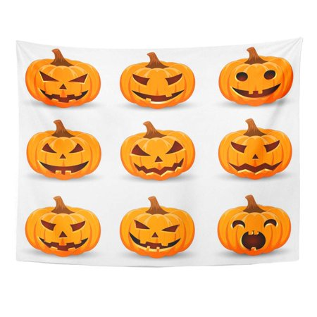 Halloween Smiley Symbols (UFAEZU Autumn Pumpkin Main Symbol The Happy Halloween Holiday Orange Smile for Cartoon Wall Art Hanging Tapestry Home Decor for Living Room Bedroom Dorm 51x60)