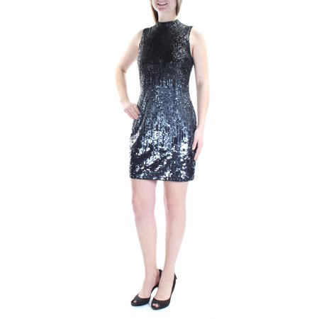 FRENCH CONNECTION Womens Black Sequined Sleeveless Jewel Neck Above The Knee Party Dress  Size: 8