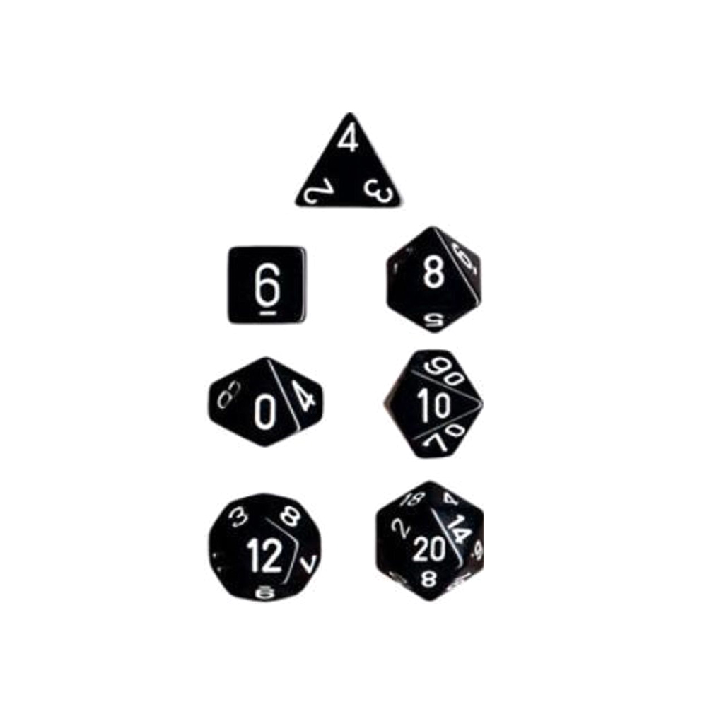 Chessex Polyhedral 7-Die Opaque Dice Set - Black with White Numbers #25408