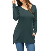 Allegra K Women's V-Neck Side Slit Loose Fitting T-Shirt Blue (Size XL / 16)