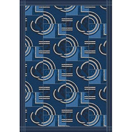 Pastiche Modernes Area Rug-Color:Blue,Material:Nylon,Shape:Oval,Size:78u0022x109u0022,Style:Phantom Blue