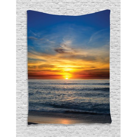 Ocean Decor Wall Hanging Tapestry  Sunset Over The Pacific Ocean From La Jolla California Sunlight Colored Sky Photo Print  Bedroom Living Room Dorm Accessories  By Ambesonne