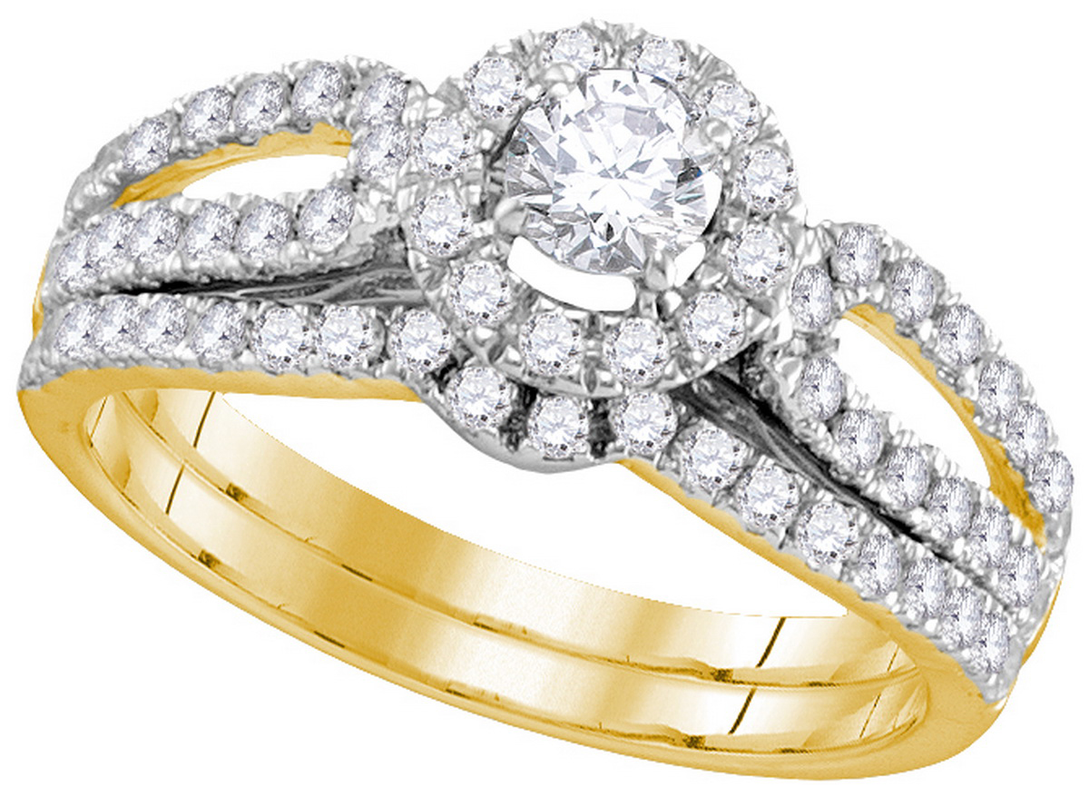 Size 7 14k Yellow Gold Diamond EGL Round Bridal Wedding Engagement Ring Band Set 1.00 Cttw by AA Jewels