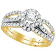 14kt Yellow Gold Womens Natural Diamond EGL Round Bridal Wedding Engagement Ring Band Set (1.00 cttw