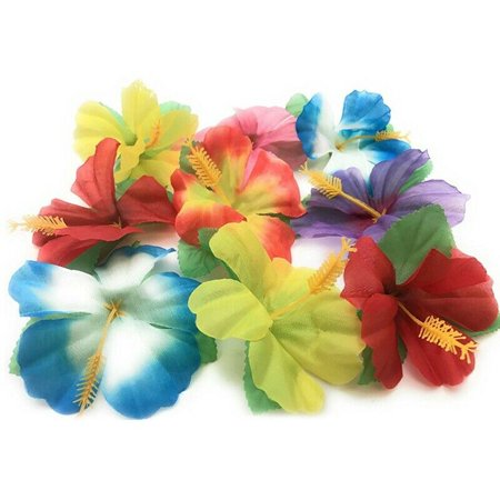 KABOER 24Pcs/Pack Artificial Silk Hibiscus Flower Leaves Hawaiian Theme Party Supplies