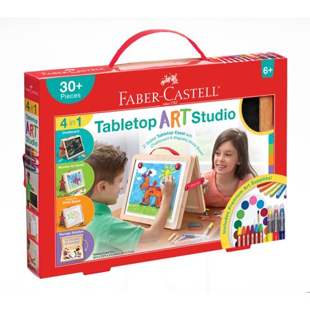 Faber-Castell 4-in-1 Double-Sided Wooden Tabletop Art Studio Easel for Children With Chalkboard and Whiteboard: Includes Paint, Chalk, Magnets and -