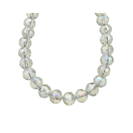 Aurora Borealis Faceted Glass Beads Necklace with Magnetic Clasp, -