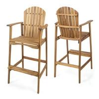 Malibu Outdoor Acacia Wood Adirondack Barstools, Set of 2, Natural Stained