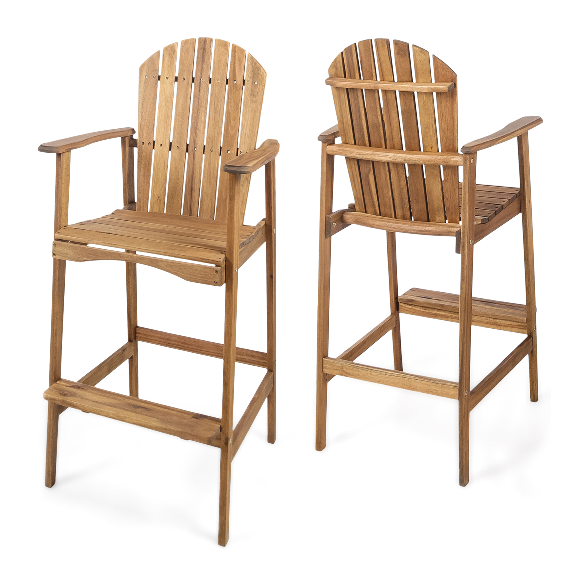 Malibu Outdoor Acacia Wood Adirondack Barstools, Set of 2, Natural Stained