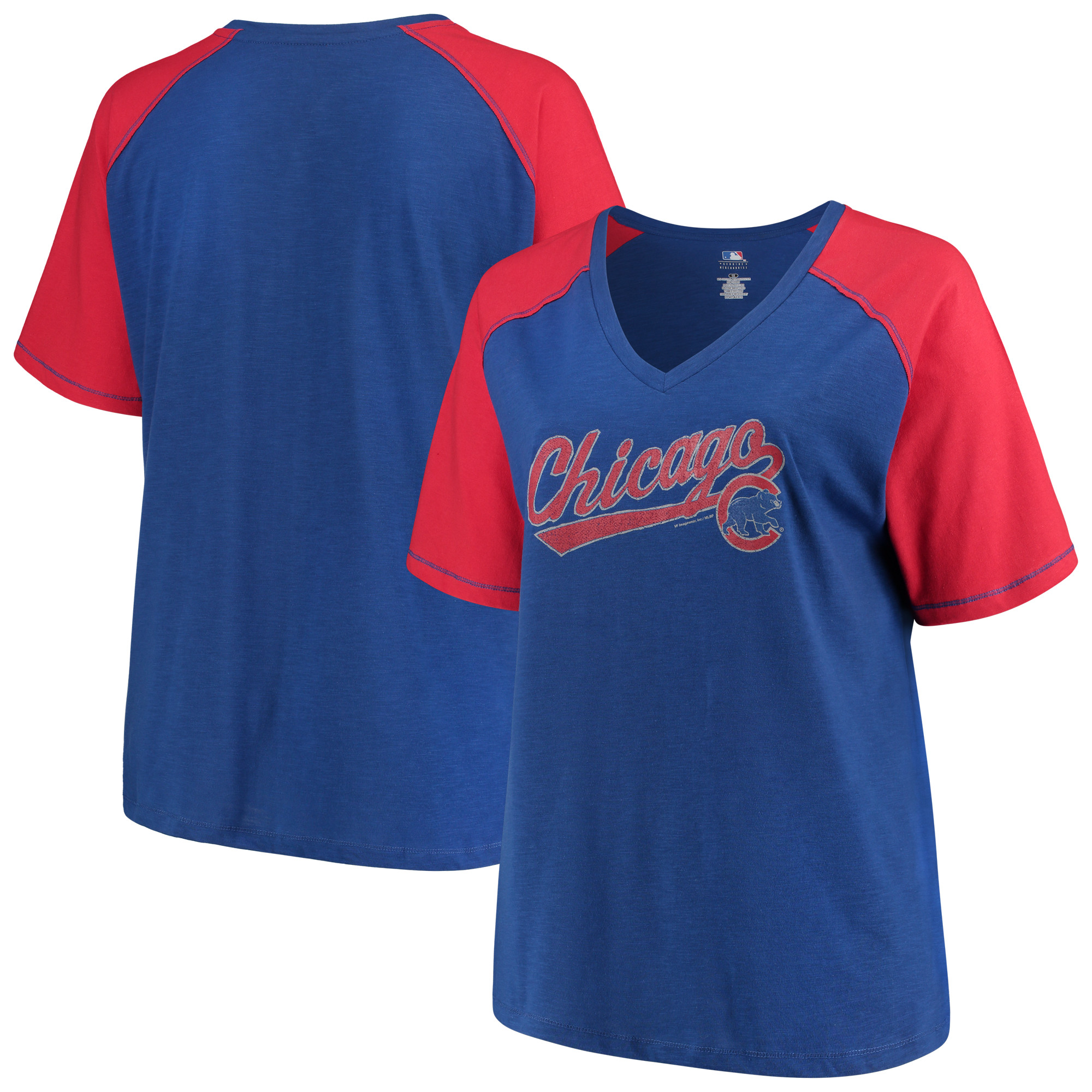 Women's Majestic Royal/Red Chicago Cubs Plus Size High Percentage Raglan V-Neck T-Shirt