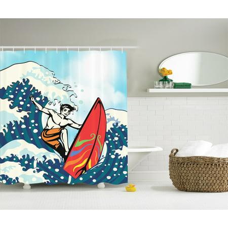 Shower Cabana - Cabana Hawaii Surfboard  Surfer Ocean Tropical Beach Summer Surf Shower Curtain