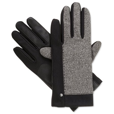 Isotoner Black Stretch Tweed SmarTouch Womens Fleece Lined Gloves XL