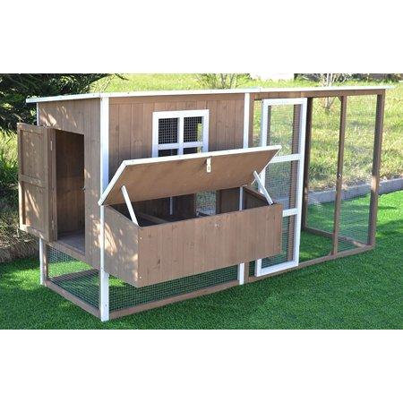 Omitree large 87 wood chicken coop backyard hen house 4 8 for Chicken coop for 8 10 chickens