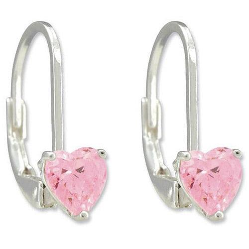 Disney Princess Pink Cubic Zirconia Heart Sterling Silver Leverback Earrings