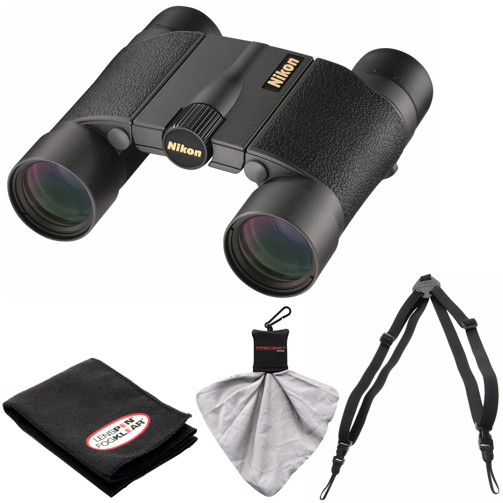 Nikon Premier LX L 10x25 Waterproof/Fogproof Binoculars with Case with Harness   Cleaning Kit