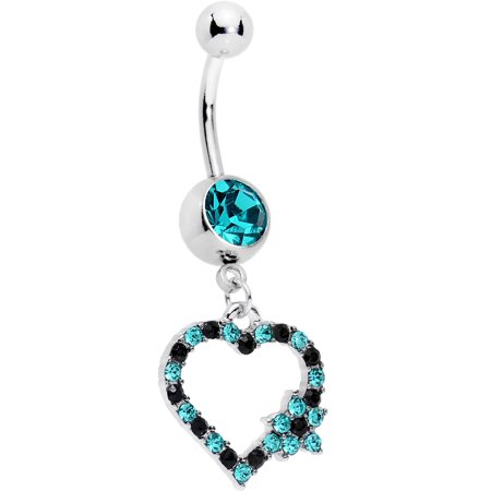 Body Candy Steel Black Brilliant Blue Accent Growing on Me Heart Flower Dangle Belly