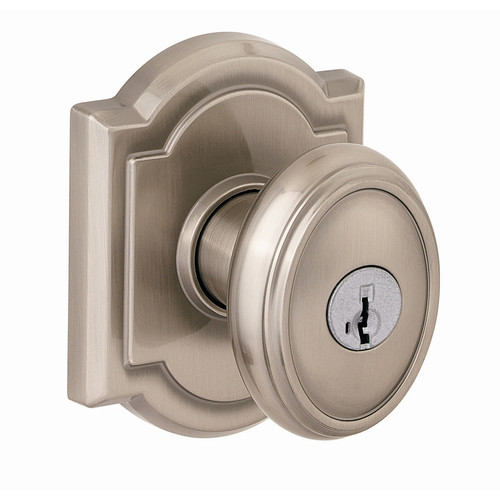 Baldwin Carnaby Keyed Door Knob with Arch Rose and Smartkey