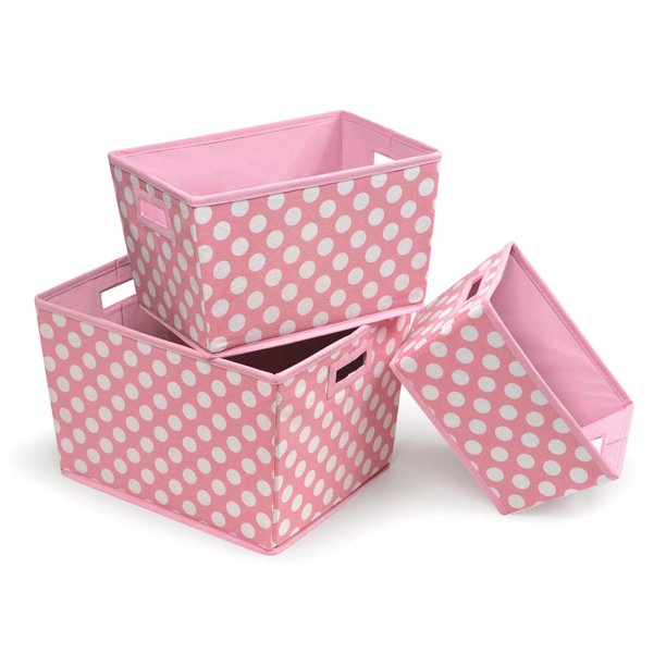 Badger Basket Nesting Trapezoid Three Basket Set, Pink Polka Dots, Includes Pad
