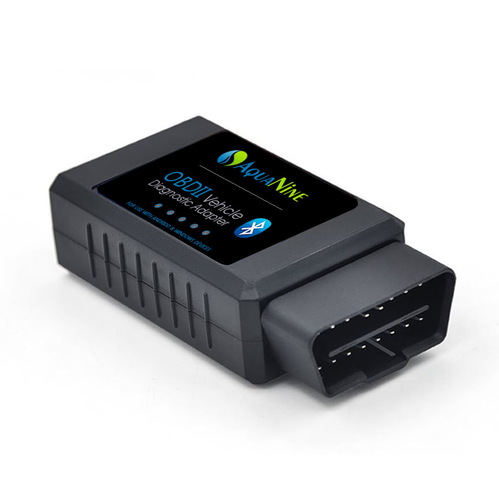 OBD2 OBDII Bluetooth Car Scanner by AquaNine - Diagnostic Reader Adapter Scan Tool for Android and Windows Device - Read and Clear CEL Trouble Codes - Monitor Engine Performance with What the Pros Use