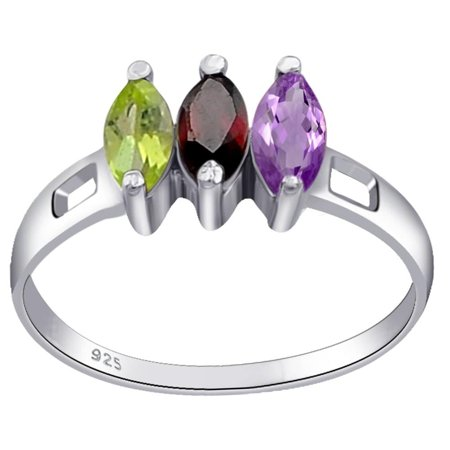 (0.75 Carat Genuine Garnet, Peridot & Citrine Marquise Cut 3 Stone Sterling Silver Ring For Women by Orchid Jewelry)