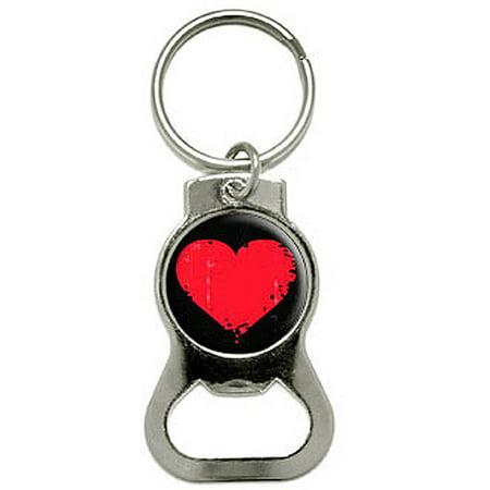 heart distressed bottle cap opener keychain ring. Black Bedroom Furniture Sets. Home Design Ideas