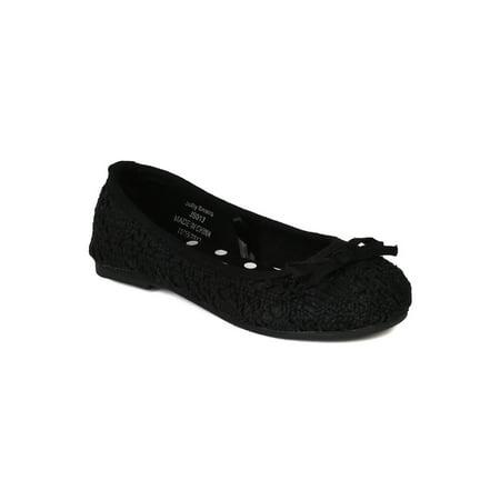 Jelly Beans Masa New Girl Crochet Bow Decor Round Toe Ballerina Ballet Flat Crocheted Baby Shoes
