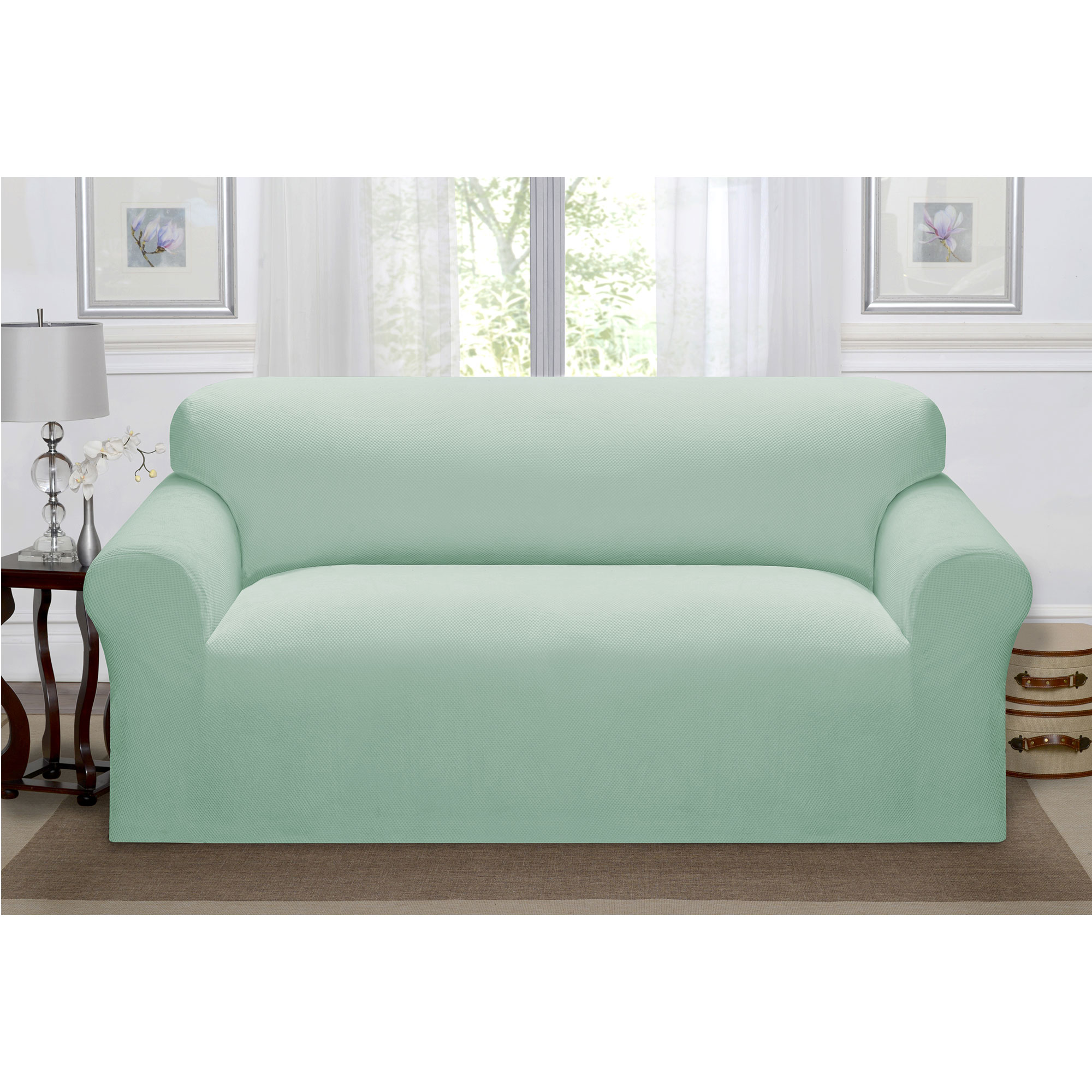 Madison Home Stretch Pique Furniture Slipcover, Soft Waffle Textured Pattern (Sofa, Seaglass)