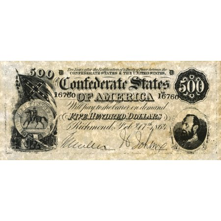 Confederate Banknote Nfive Hundred Dollar Banknote Issued By The Confederate States Of America At Richmond Virginia 17 February 1864 A Portrait Of General Thomas Jonathan Stonewall Jackson Is In The L