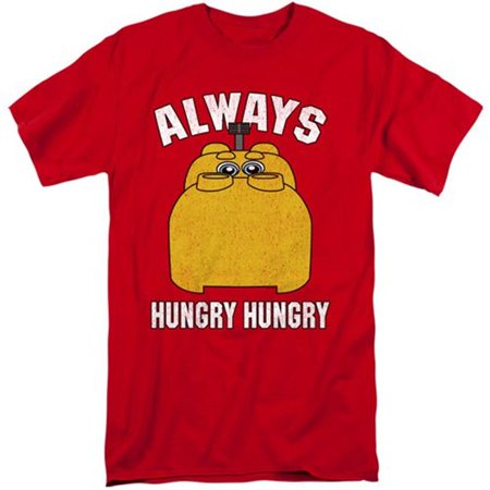 Trevco Sportswear HBRO268-ATT-4 Hungry Hungry Hippos & Hungry 18 by 1 Adult Tall Fit Short Sleeve T-Shirt, Red - Extra