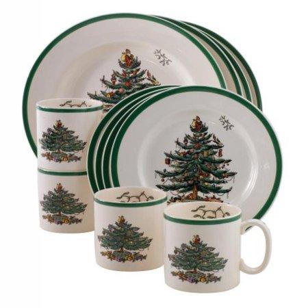 Spode Christmas Tree 12 Piece Dinnerware Set  Service For 4