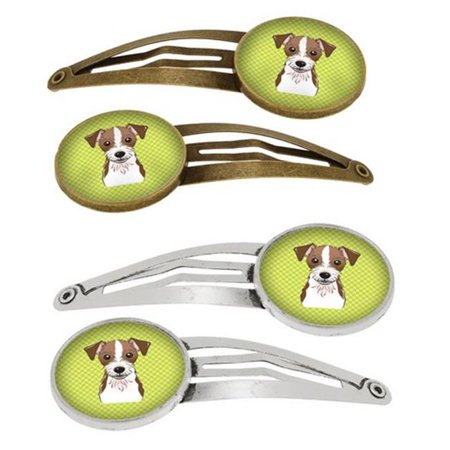Checkerboard Lime Green Jack Russell Terrier Barrettes Hair Clips, 0.75 x 0.25 x 2.25 in. - Set of 4